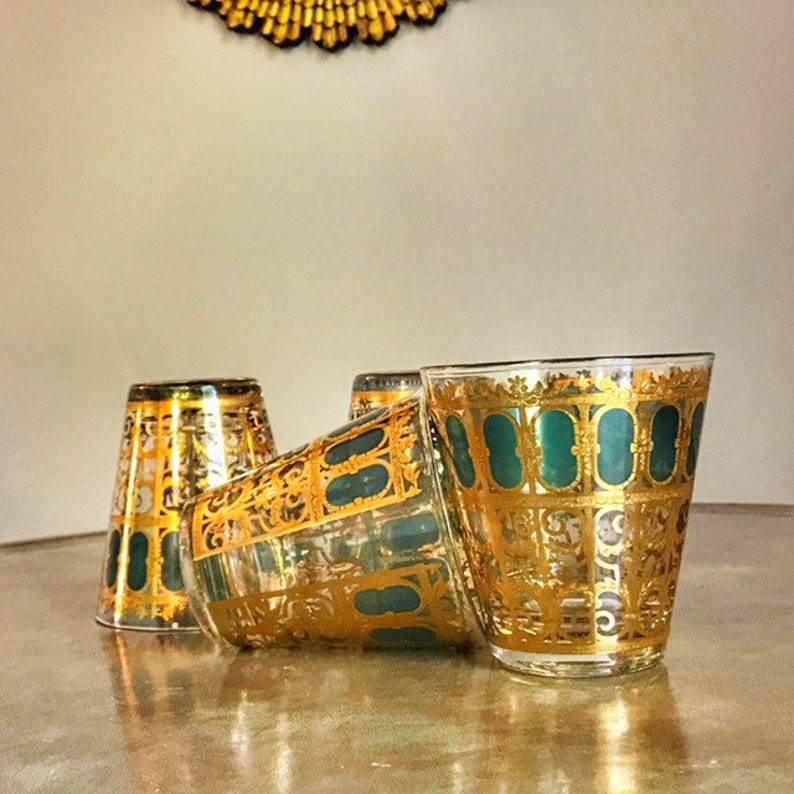 Culver Glass 1960s Bar Glasses Emerald Scroll Vintage image 0