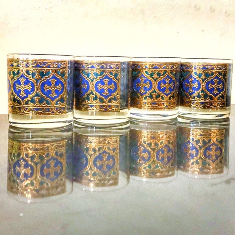 Georges Briard Glassware Gothic Cross Blue Gold Whiskey image 0
