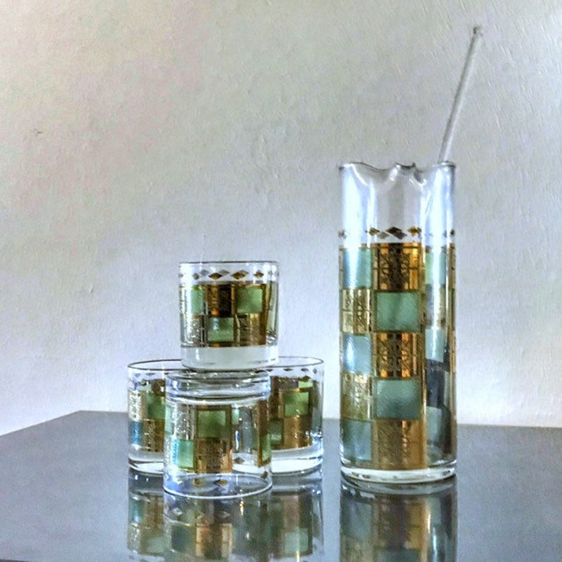 Vintage Barware Retro Bar Green Gold 4 Low Ball Glasses 1 image 0