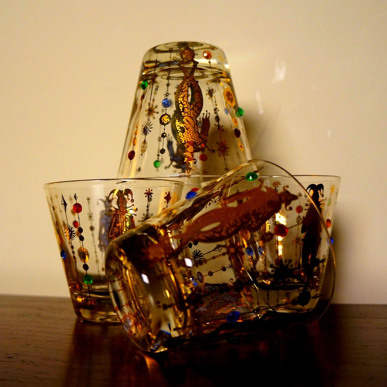 Mardi Gras Culver Glass Jester Harlequin 4 Large 22K Gold image 0