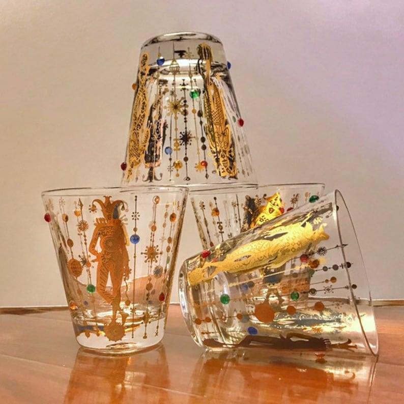 Mardi Gras Culver Glassware Vintage Barware Set 1960s 4 image 0