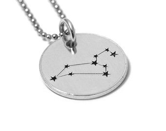 Leo Zodiac Constellation Necklace - Zodiac Jewelry - Silver Disc Necklace - Star Sign - Leo Sign - Engraved Stamped Charm - Astrology