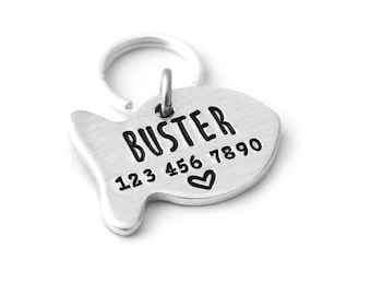Personalized Cat Name ID Tag - Pet ID Tag - New Kitten Tag - Collar Tag - Phone Number - Pet Collar Charm - Engraved Cat Tags