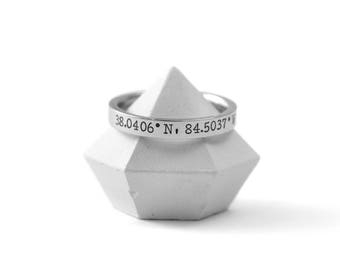 Coordinates Ring - Latitude Longitude Ring - Stacking Rings - Gift for Her - Location Ring - GPS Coordinates- Long Distance - Engraved Ring