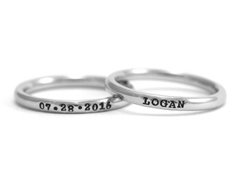 Thin Name Ring - Stamped Stacking Rings - Personalized Rings - Custom Engraved Ring - Roman Numeral - Coordinates - Anniversary - Words
