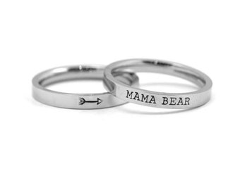 Personalized Stacking Rings - Stamped Ring - Silver Arrow Ring - Custom Engraved Ring - Mom Ring - Personalized Names - Mama Bear