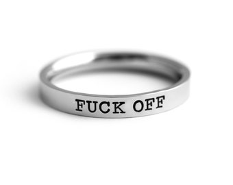 Custom Stacking Rings - Curse Word Ring - Personalized Stamped Ring - F*CK Off Profanity Ring - Swear Word Ring - Sassy - Funny Novelty Gift
