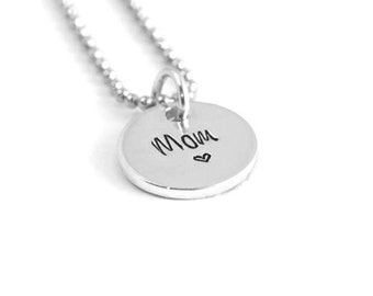 Mom Necklace - Hand Stamped Necklace - Engraved Charm Necklace - Mom Charm - Mother's Day Gift - Gift Under 30 - Gift for Mom