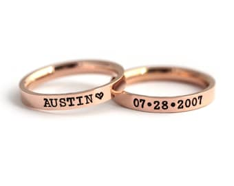 Personalized Name Ring - Rose Gold Stacking Rings - Personalized Stackable Band - Custom Engraved Rings - Rose Gold Ring