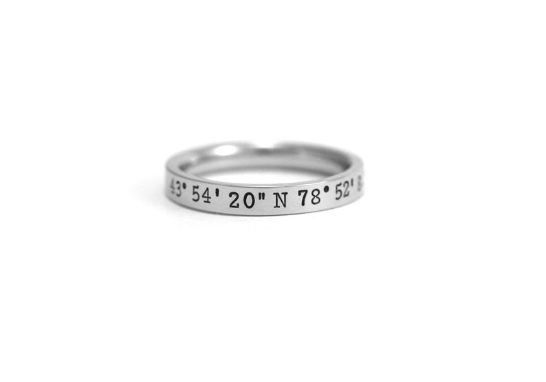 23 Best Travel Gifts for Her featured by top US travel blogger, Marcie in Mommyland: Coordinates Ring  Latitude Longitude Ring  Stacking Rings  image 0
