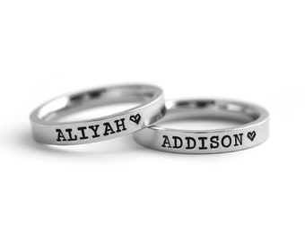 Engraved Name Ring - Personalized Stacking Ring - Stamped Rings - Name Rings - Thin Name Ring - Custom Ring - Stackable Rings - Mom Ring
