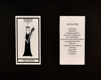 The Feather - Matted Fantod Cards By Edward Gorey