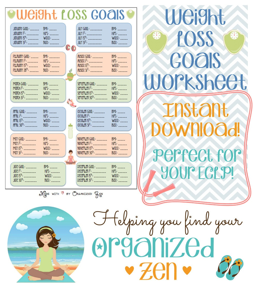 Instant Download Weight Loss Goals worksheet perfect for ...