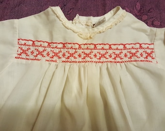 Vintage Montgomery Ward red-smocked white toddler blouse/dress is cheerful with just a touch of elegance, the perfect summer combination