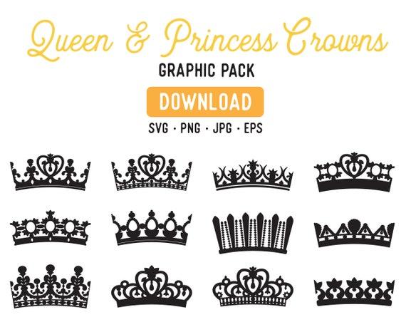 Princesse Couronne Eps Queen Crown Clipart Clipart Tiara Etsy