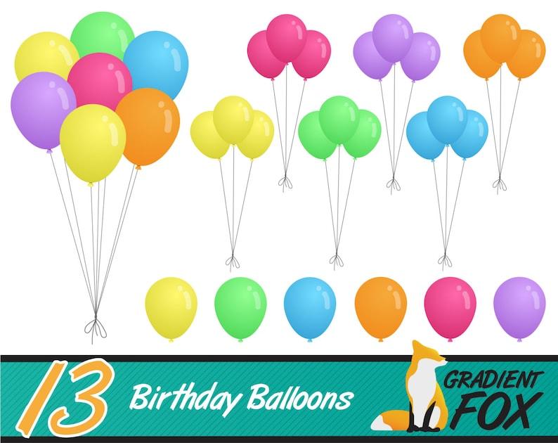 13 Balloons Clipart Birthday Invitation Graphics