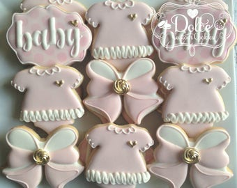 Baby Shower Pink and Gold Cookies