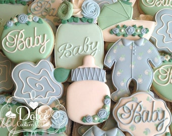 Garden Party Floral Shabby Chic Baby Shower Cookies