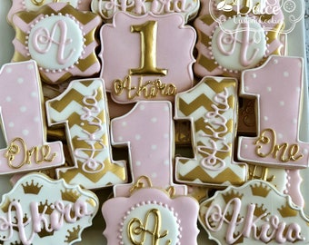 Pink Gold Chevron First Birthday Cookies