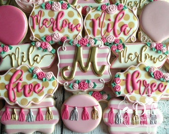 Shabby Chic Floral Flower Garden Party Pink and Gold Birthday Baby Shower Cookies