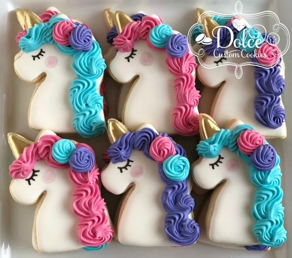 Unicorn Rainbow Birthday First Birthday Party Favor Cookies
