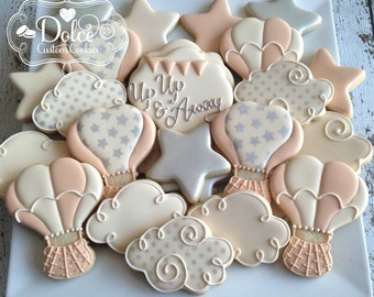 Hot Air Balloon Up Up and Away First Birthday Baby Shower Cookies