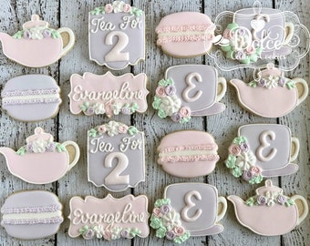 Tea For 2 Two Tea Party Birthday Cookies