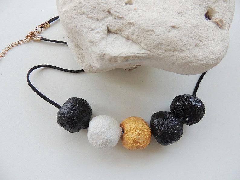 Paper mache bead necklace,handmade paper mache necklace,paper mache evening necklace