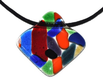 Fused glass necklace,rhombus colorful huge fused necklace
