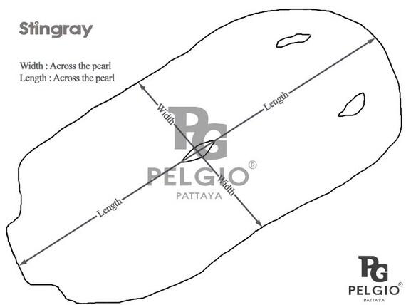 PELGIO Genuine Polished Stingray Shagreen Skin Leather Soft Hide Pelt Natural