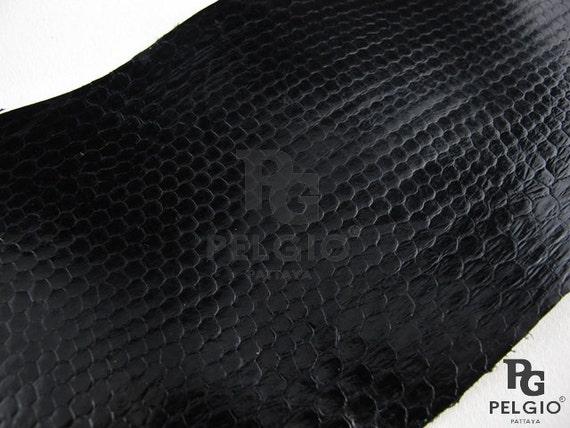 PELGIO Real Genuine Python Snake Skin Leather Hide Pelt Scraps 100 gram Black