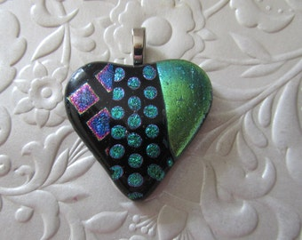 """Fused Dichroic Heart - Fused Dichroic Pendant - Fused Heart Jewelry - Measures 1.5"""" x 1.5"""""""