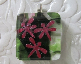 "Fused Pendant - Fused Art Glass - Fused Jewelry - Copper Foil - Dragonflies - Measures 1"" x 1"""