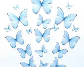 Shimmery Sky Blue Edible Pre-Cut 3D Wafer Paper Butterflies--16 Multi-Sized Edible Butterflies