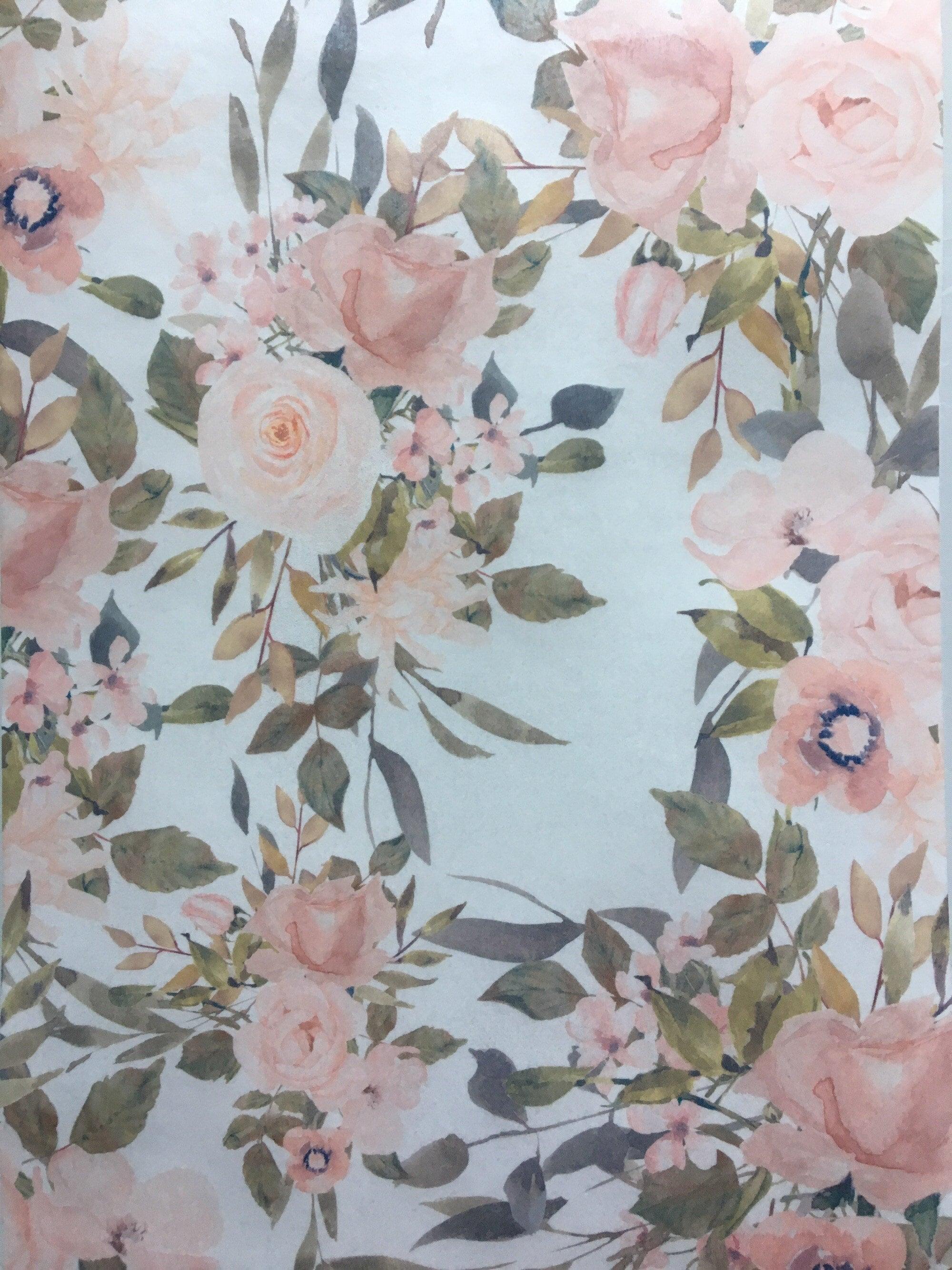 Blush Floral Edible Wafer Paper Etsy