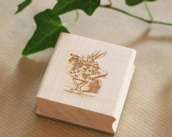 Trumpet rabbit stamp