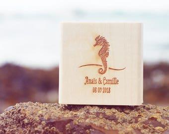 Seahorse wedding stamp