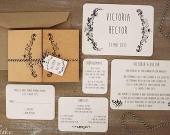 Wedding invitation, vintage - VICTORIANA -