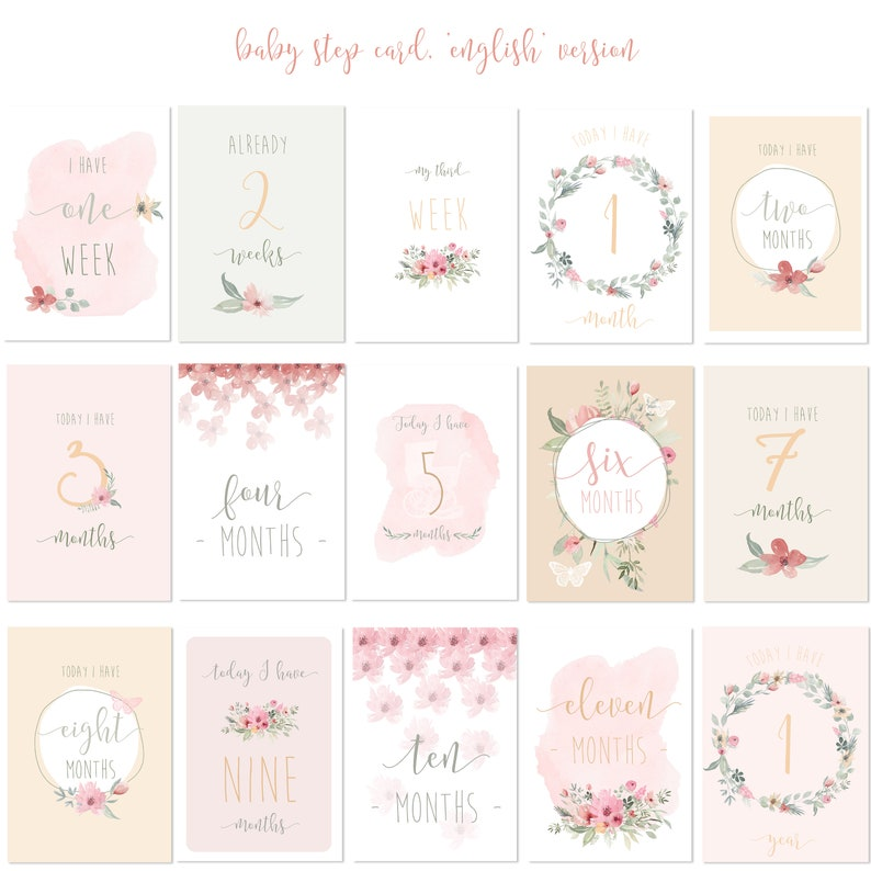 15 Cards STEP BABY Pink