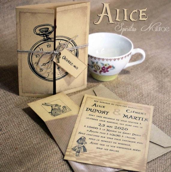 X10 Faire Part Alice Au Pays Des Merveilles