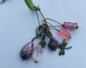 Stitch Marker Necklace - Antique Bronze, Pine cone, Dragonfly and Acorn - Markers for knitting and crochet