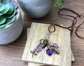 Stitch Marker Necklace - Antique Bronze, Purple, Dragonfly and Acorn - Ring stitch markers for knitting and clasp stitch markers for crochet