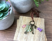 Stitch Marker Necklace - Antique Bronze, Green, Bee and Key- Ring stitch markers for knitting and clasp stitch markers for crochet