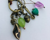 Stitch Marker Necklace - Antique Bronze, Acorn, Pine Cone and Spoon - Markers for knitting and crochet
