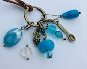Stitch Marker Necklace - Antique Bronze, Blues and Pine Cone - Markers for knitting and crochet