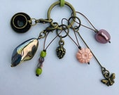 Stitch Marker Necklace - Antique Bronze, Pastels, Bee and Teacup - Markers for knitting and crochet