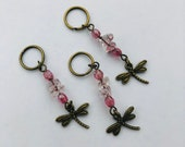 Set of 3 Stitch Markers - Dragonflies - Antique Bronze and Pink- stitch markers/place markers for knitting or crochet