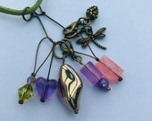 Stitch Marker Necklace - Antique Bronze, Pastels, Dragonfly and Pine Cone - Markers for knitting and crochet