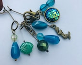 Stitch Marker Necklace - Antique Bronze, Mermaid, Shell and Scales - Markers for knitting and crochet