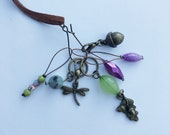 Stitch Marker Necklace - Antique Bronze, Pastel, Dragonfly and Acorn - Ring stitch markers for knitting and clasp stitch markers for crochet